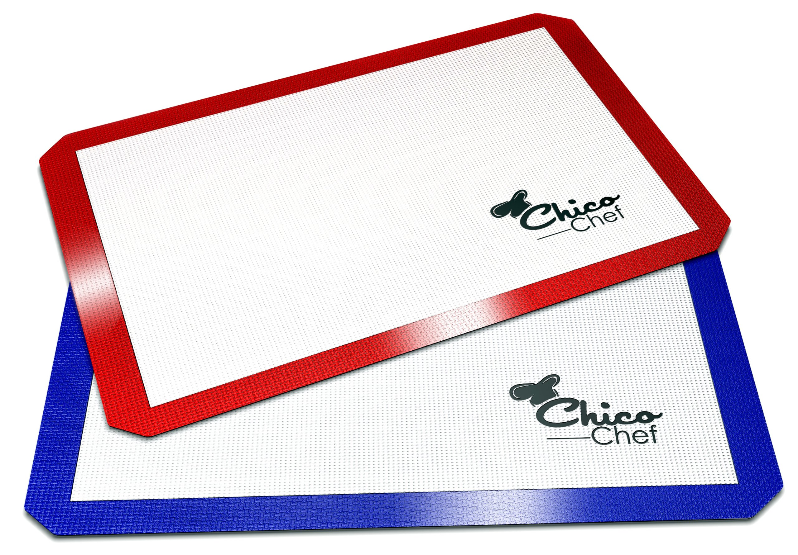 Silicone Baking Mat 2-Pk - Fits Half Sheets - Blue, Red colors - Bonus Cookbook, Lifetime Guarantee