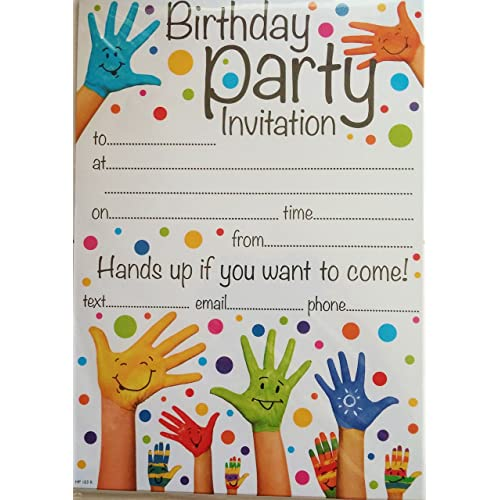 Birthday invitation cards amazon simon elvin open party invitation hands up design pack of 20 invites envelopes stopboris Gallery