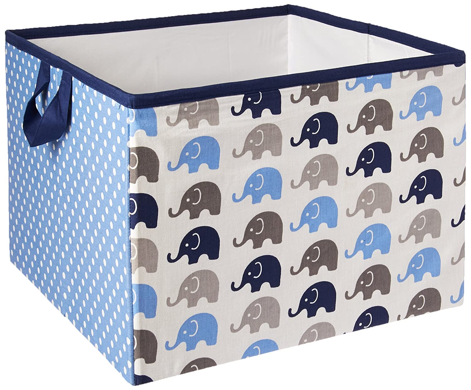 Bacati Elephants Storage Tote Basket, Blue/Grey, Large EBGSLB