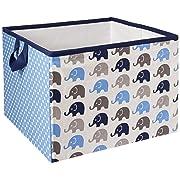 Bacati Elephants Storage Tote Basket, Blue/Grey, Large