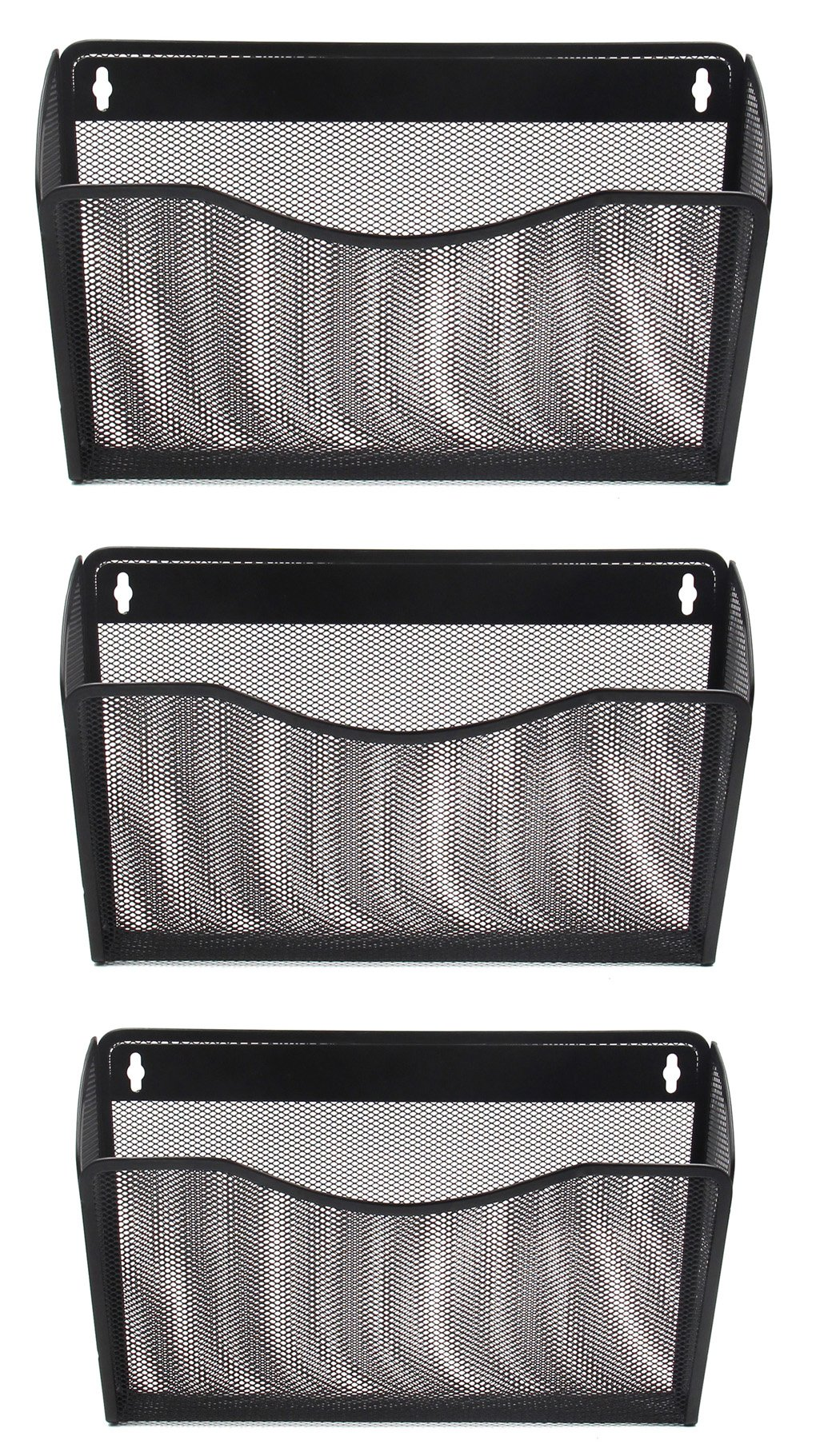 EasyPAG 3 Pocket Office Mesh Collection Wall File Holder Organizer,Black