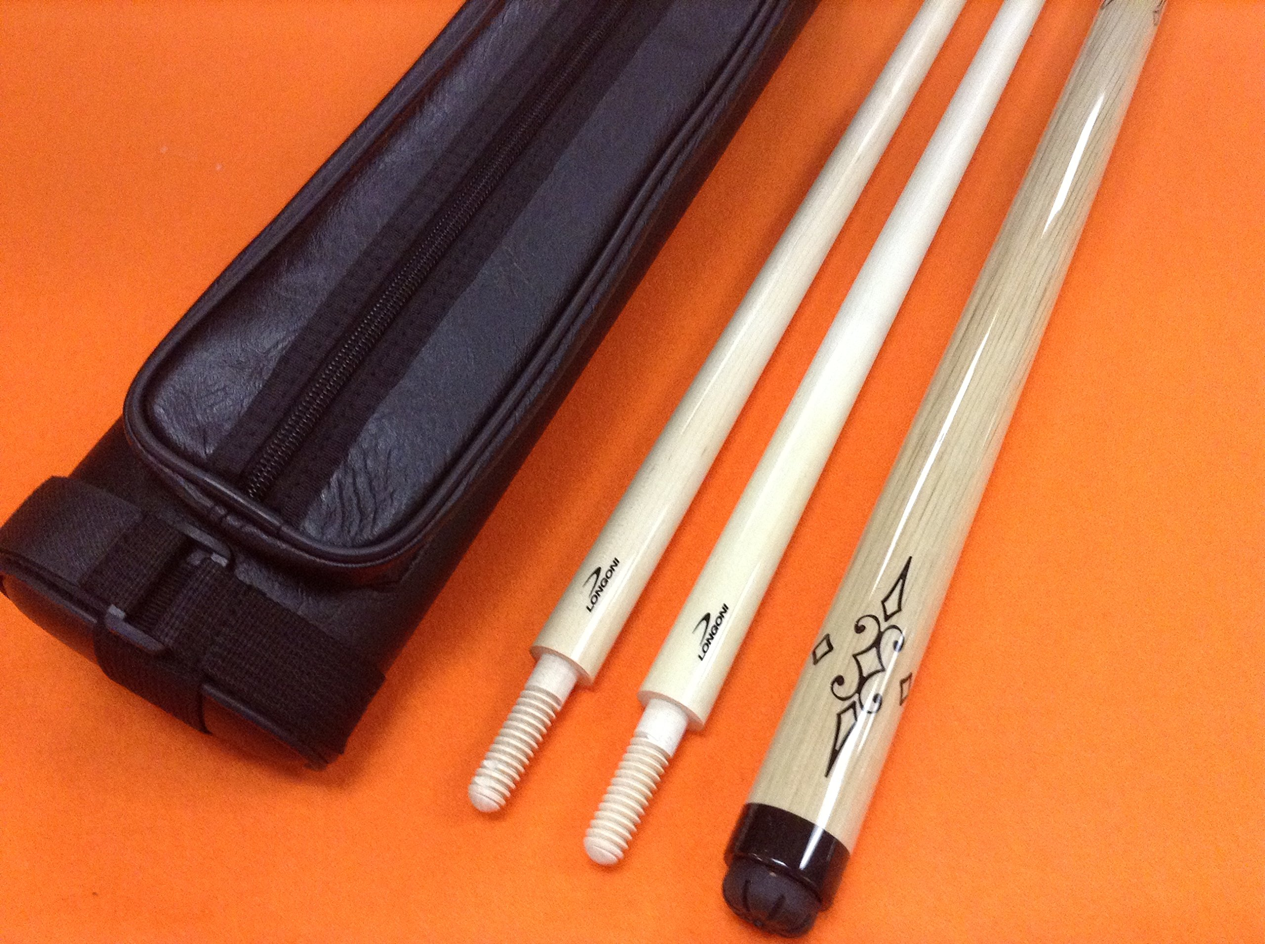 LONGONI CAROM CUE NATURAL R WITH 2 SHAFTS & CASE