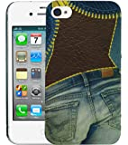 Heartly Jeans Style Printed Design High Quality Hard Bumper Back Case Cover For Apple iPhone 4 4S 4G - Ladies Pocket