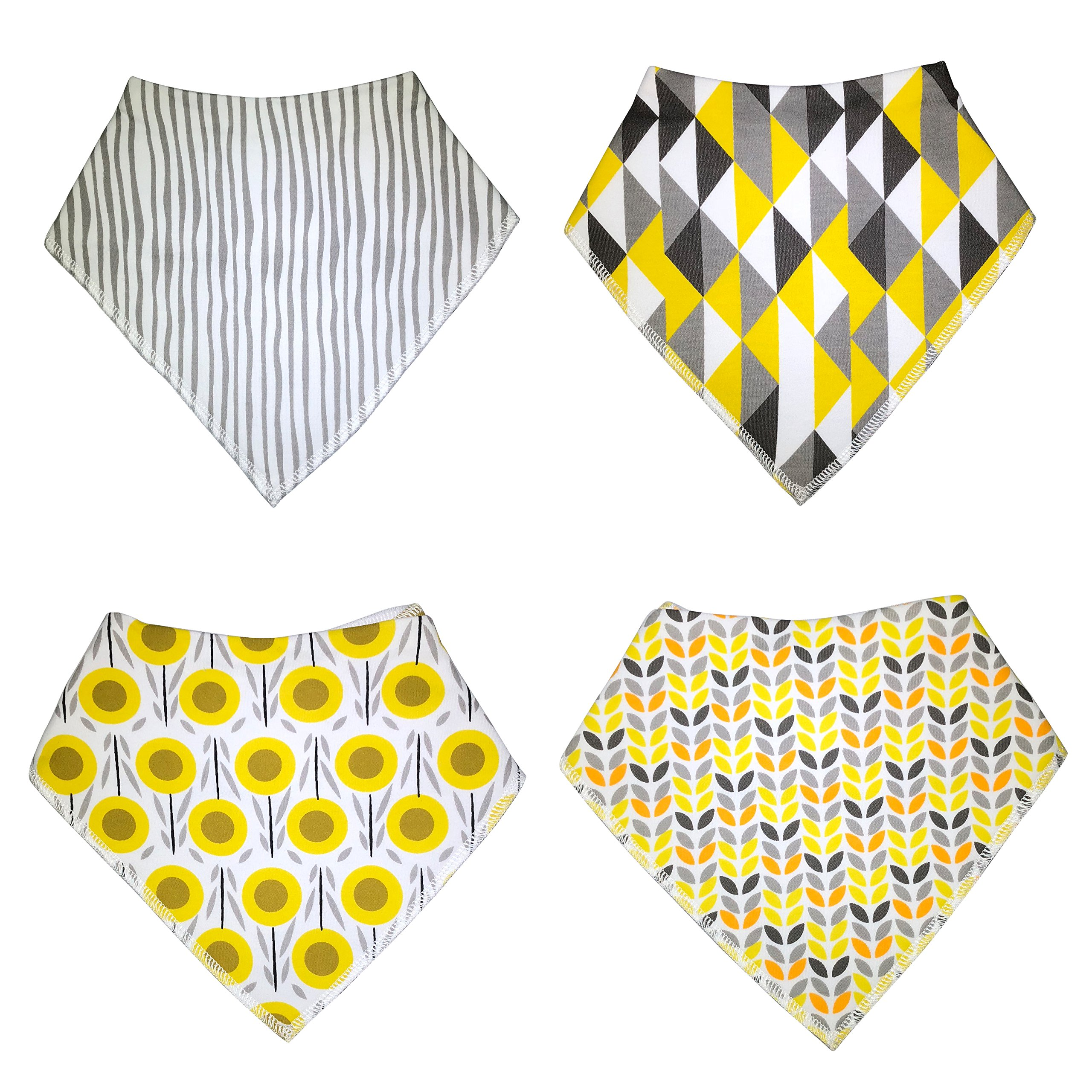 KodaBear Signature Pet Dog Bandana Scarf, 4 Pack, Triangle Bib Kerchief for Dogs, Buttons Up, Machine Washable, Soft Cotton Material (Sun Flower Pack)