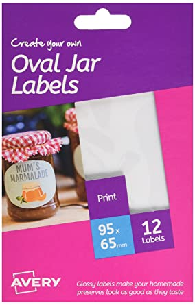 Avery HJJ02 Create Your Own Printable Glossy Jar Labels - White, A6 Sheets  (95 x 65 mm, Oval, 12 per Pack)