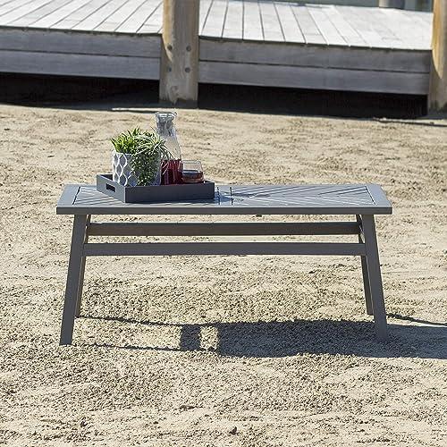 Solid Acacia Wood Chevron Coffee Table – Grey Wash
