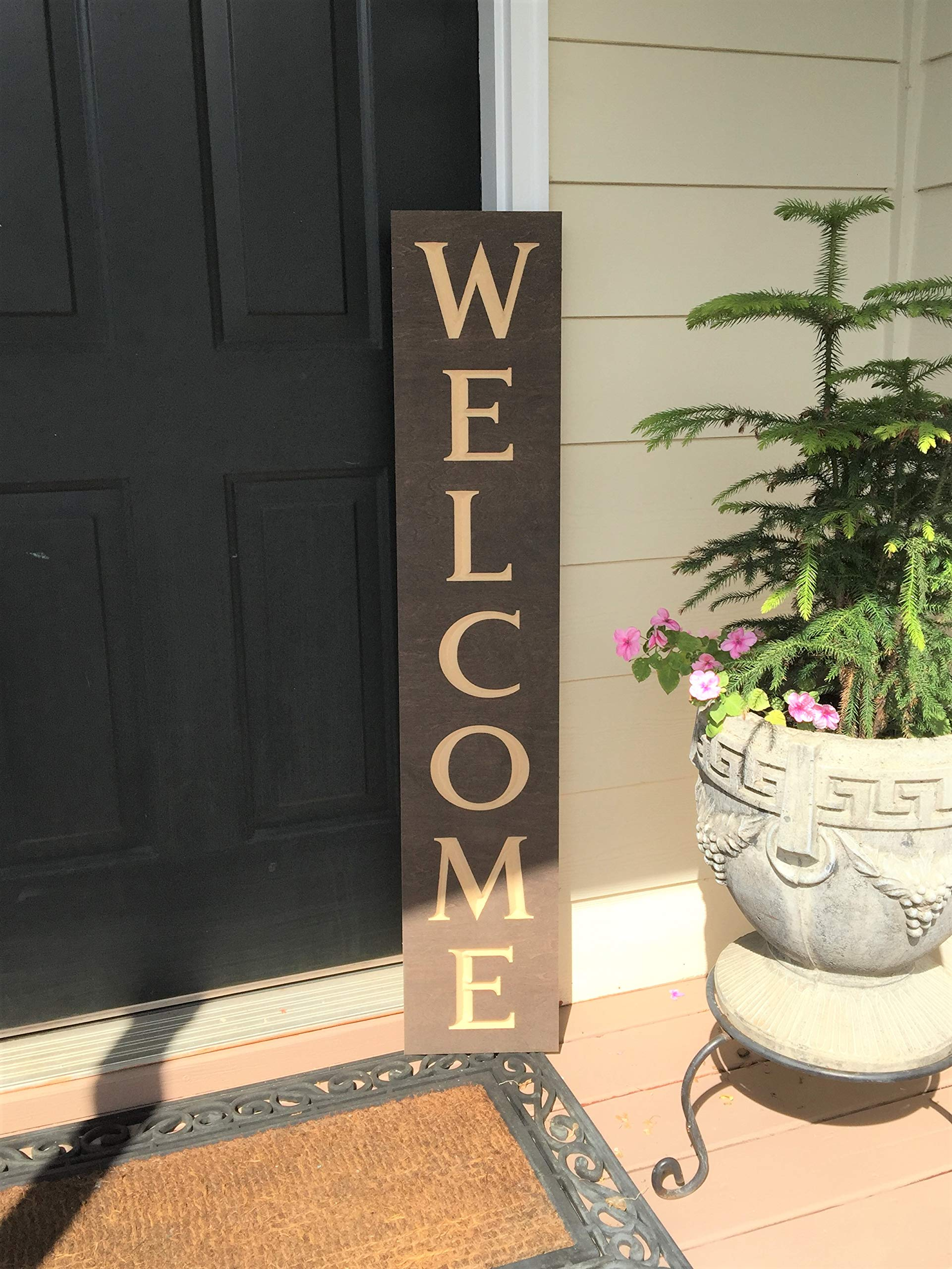 Paint Me Designs, Wooden Welcome Sign, Vertical, Stained by Paint Me Designs