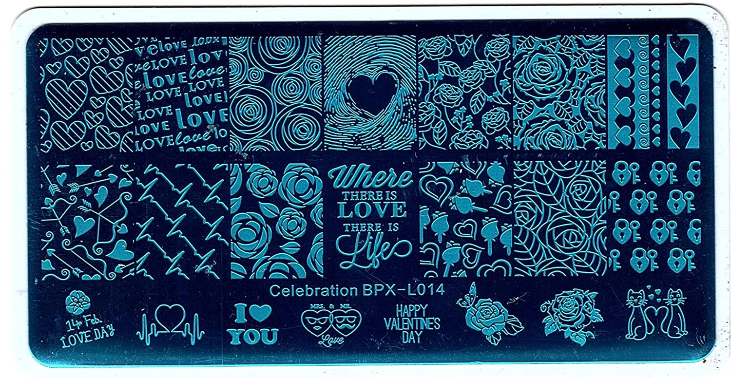 BORN PRETTY Celebration Stamping Plate Valentine's Day Manicure Nail Art Image Template BPX-L014 BPX-L016