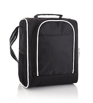 SanDD - Mochila nevera portátil con cómoda bandolera, color negro y blanco Bolsa de almuerzo inteligente y ...