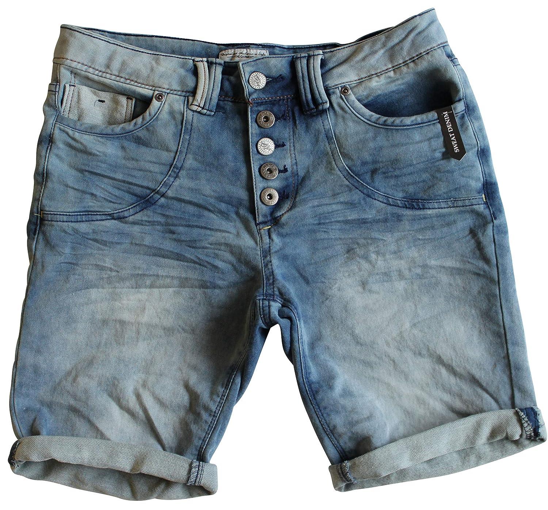 30 Farben Damen Jeans Bermuda Short by Eight2Nine Boyfriend Look tiefer Schritt Jeansbermuda mit Kontrastnähten Washed Kurze Hose (M, Washed Blue)