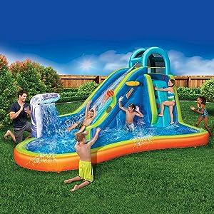 Inflatable Giant Water Slide - Huge Kids Pool (14 Feet Long by 8 Feet High) with Built in Sprinkler Wave and Basketball Hoop - Heavy Duty Outdoor Surf N Splash Adventure Park - Blower Included