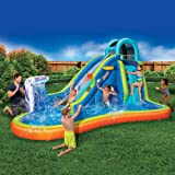 Inflatable Giant Water Slide - Huge Kids Pool (14 Feet Long by 8 Feet High) with Built in Sprinkler Wave and Basketball…