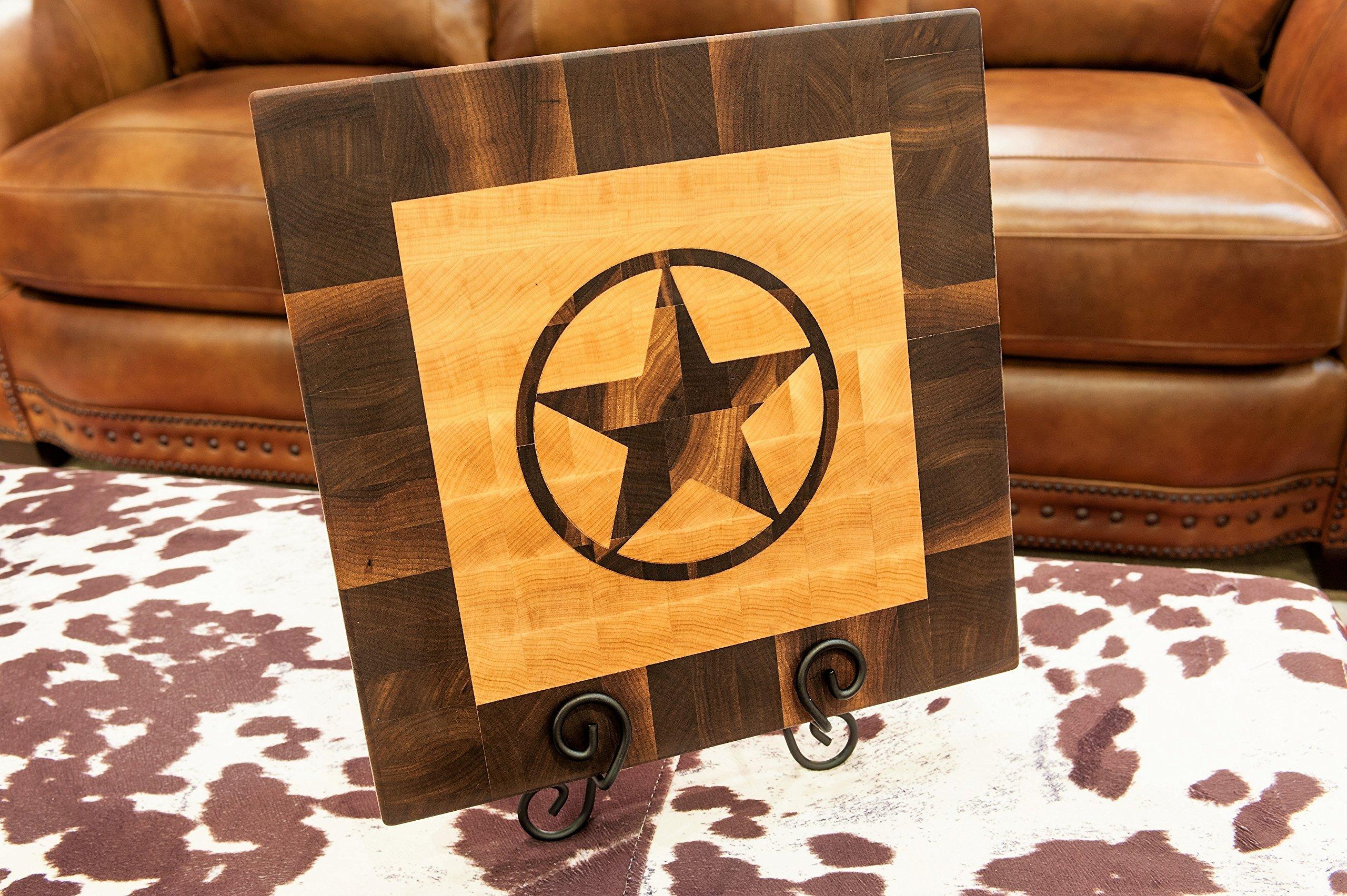 Chopping Blox Wood End Grain Cutting Board with Inlay Texas Star. Model TEXB