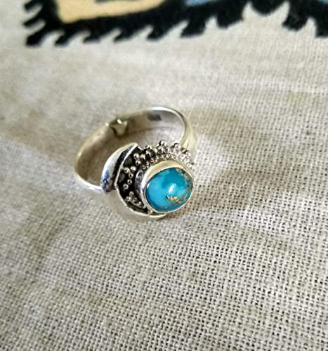 Amazon Com Blue Copper Turquoise Ring 925 Sterling Silver Half