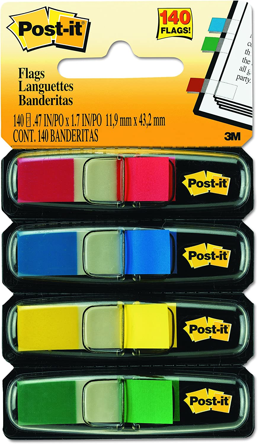 Post-it Flags, Assorted Primary Colors, Sticks Securely, Removes Cleanly.47 in. Wide, 35/Dispenser, 4 Dispensers/Pack, (683-4)
