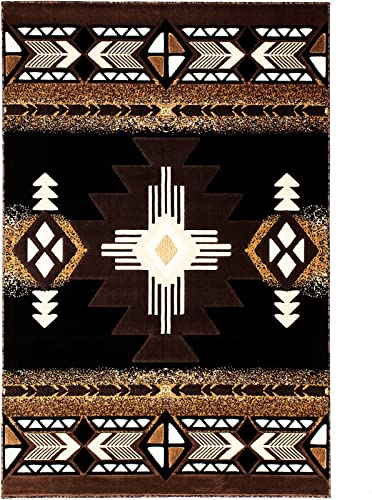 Allstar 8×10 Black and Mocha Navajo Machine Carved Effect Rectangular Accent Rug with Ivory and Espresso Southwestern Medallion Design 7 9 x10 1