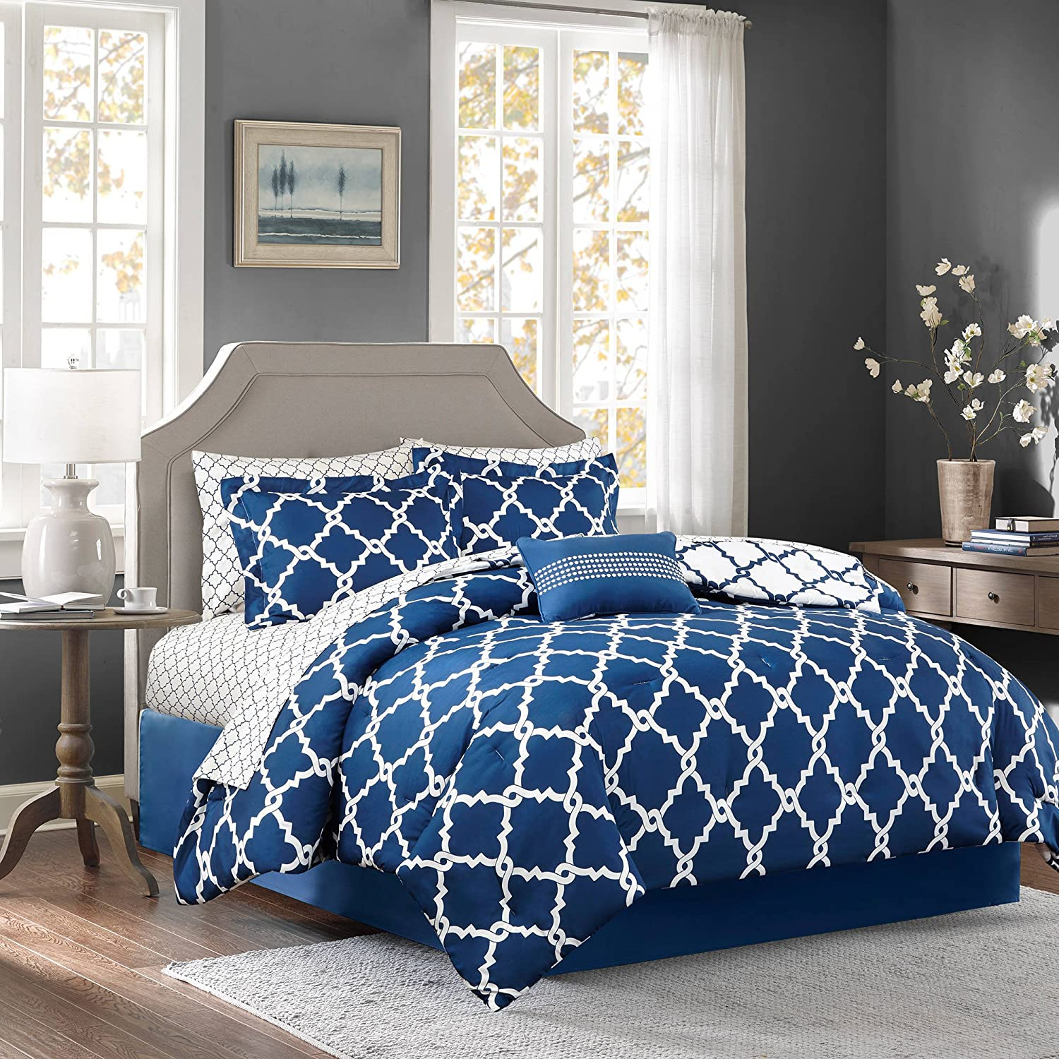 7 Piece Girls Navy Blue Color Moroccan Comforter Set Twin With Sheets, Beautiful Quatrefoil Fretwork Lattice Geometric Pattern Bold Dark Blue Base Chic, Reversible White Teen, Microfiber