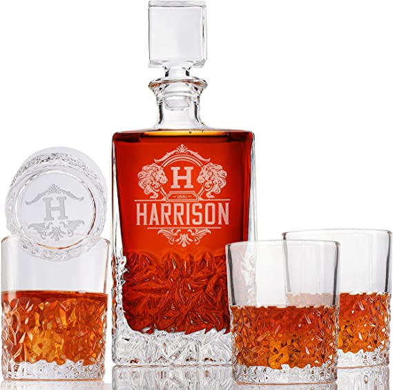 Personalized 5 pc Whiskey Decanter Set - Custom Liquor 23 oz