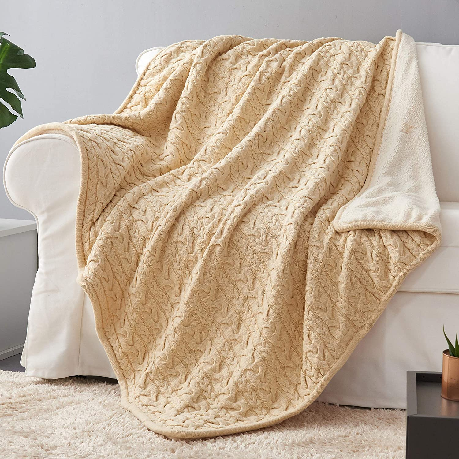 """3f4c590d9 Longhui bedding Cotton Cable Knit Sherpa Throw Blanket – Thick, Soft, Big,  Cozy Beige Knitted Fleece Blankets for Couch, Sofa, Bed – Large 50"""" x 63""""  Cream ..."""