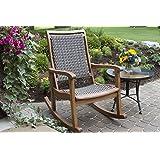 Shine company vermont porch rocker oak patio lawn garden for Outdoor interiors eucalyptus rocking chair