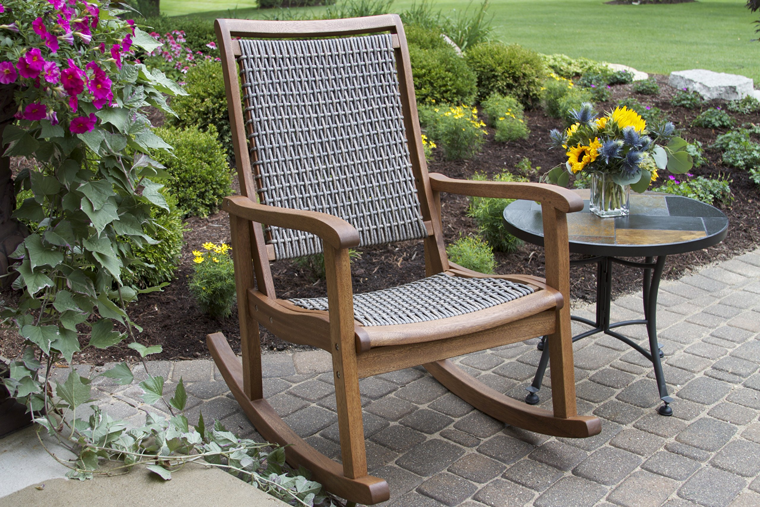 Outdoor Interiors Resin Wicker and Eucalyptus Rocking Chair, Brown and Grey by Outdoor Interiors