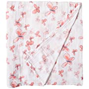 Aden by Aden + Anais Classic Swaddle Baby Blanket, 100% Cotton Muslin, Large 44 X 44 inch, Single, Butterflies