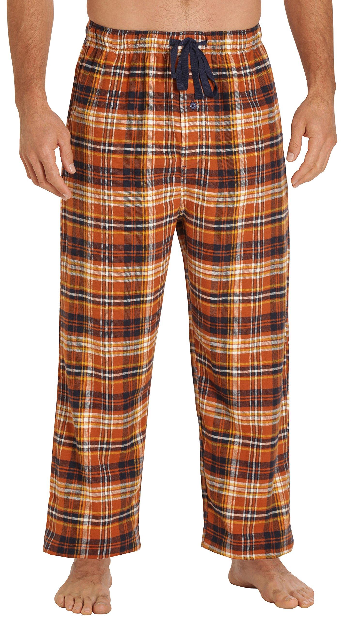 EVERDREAM Sleepwear Mens Flannel Pajama Pants, Long 100% Cotton Pj Bottoms,Size Medium Brown Rust