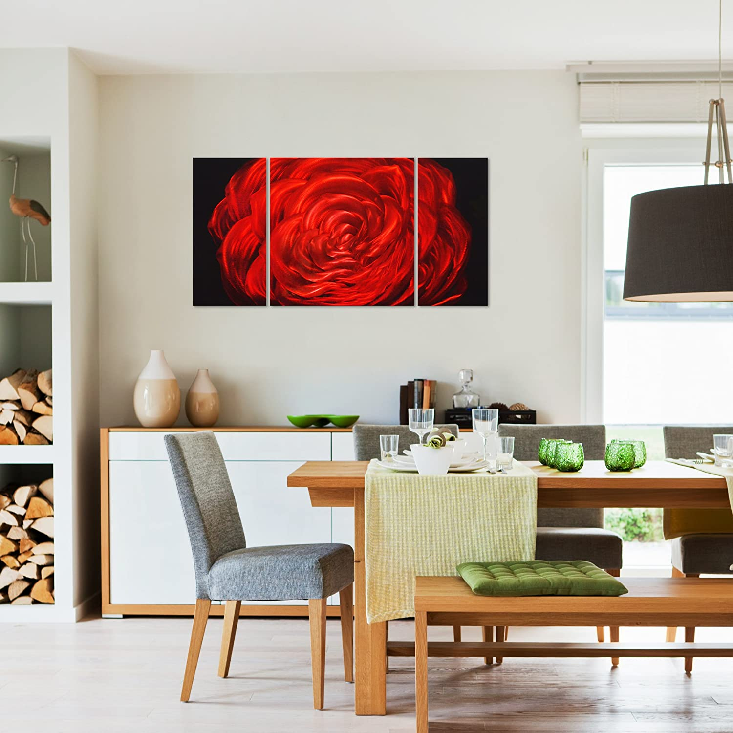 red rose flower metal wall art decor 50 x24