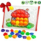 Skoolzy Peg Button Art: Creative Arts And Crafts For Toddlers Girls And Boys. Fun Educational Learning Toys. Color Matching Pegboard With 12 Templates And Stand - Fine Motor Skills Game
