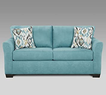 Roundhill Furniture LAF3302SC Liverpool Microfiber 2-Seater Loveseat with  Pillows, in Sansations Capri Blue