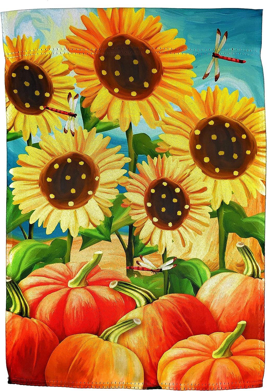 Lantern Hill Gartenflagge gepunktet Sonnenblumen Kürbis Aufnäher Libelle Doppelseitig Herbstdekoration 31 8 x 45 7 cm