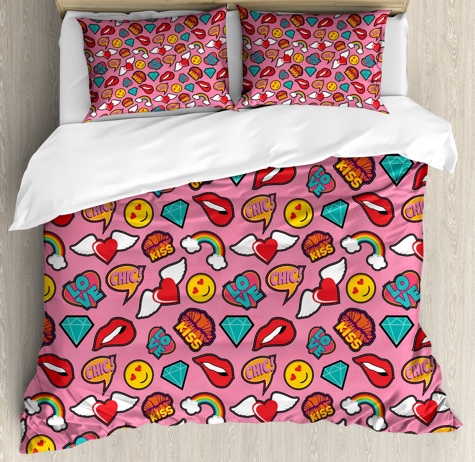Ambesonne Emoji Duvet Cover Set Queen Size, Dotted Hearts Background with Rainbow Love Woman Lips Pop Art Style Stitch Pattern, Decorative 3 Piece Bedding Set with 2 Pillow Shams, Multicolor