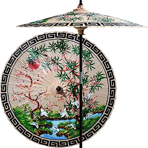 Oriental-Decor 7 Foot Tall Hand-painted Patio Umbrella Asian Spring in Sand Tan, Handcrafted Bamboo Dual-Height Market Umbrella with Hardwood 2-Piece Pole