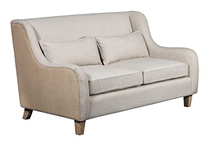 Elle Decor UPH10039A Wingback Two-Toned Sofa Beige Linen and Burlap