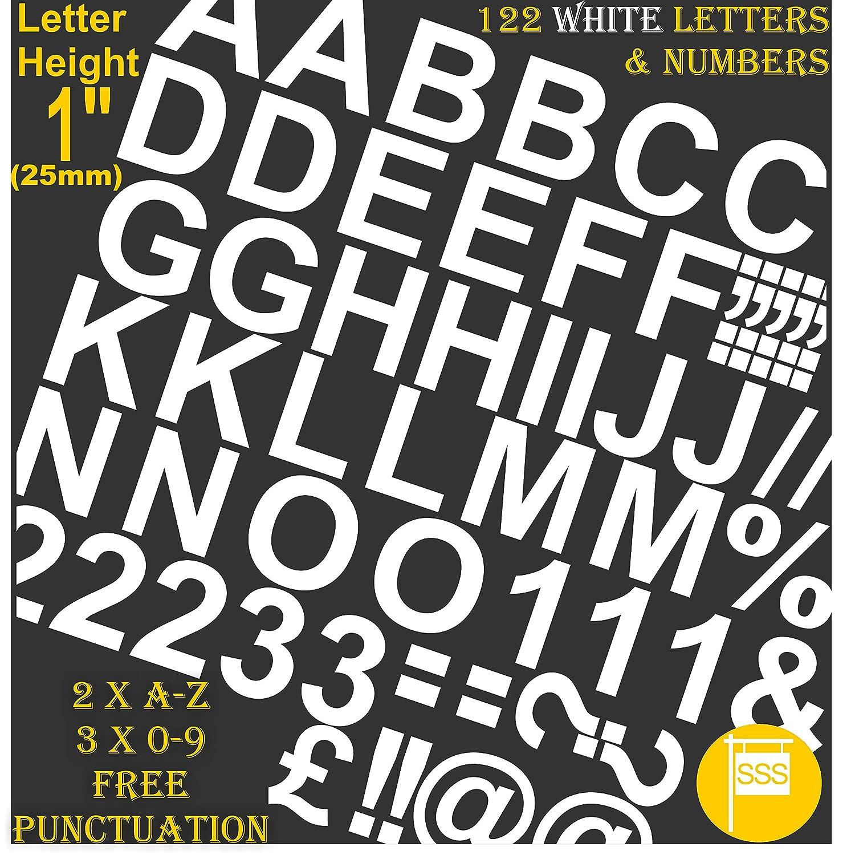 Professionale, confezione da 122pezzi x 2,5cm (2.5cm) adesivo bianco lettere e numeri adesivi free punteggiatura Washproof scritta grande Signwriting Water Proof qualsiasi progetto SSS