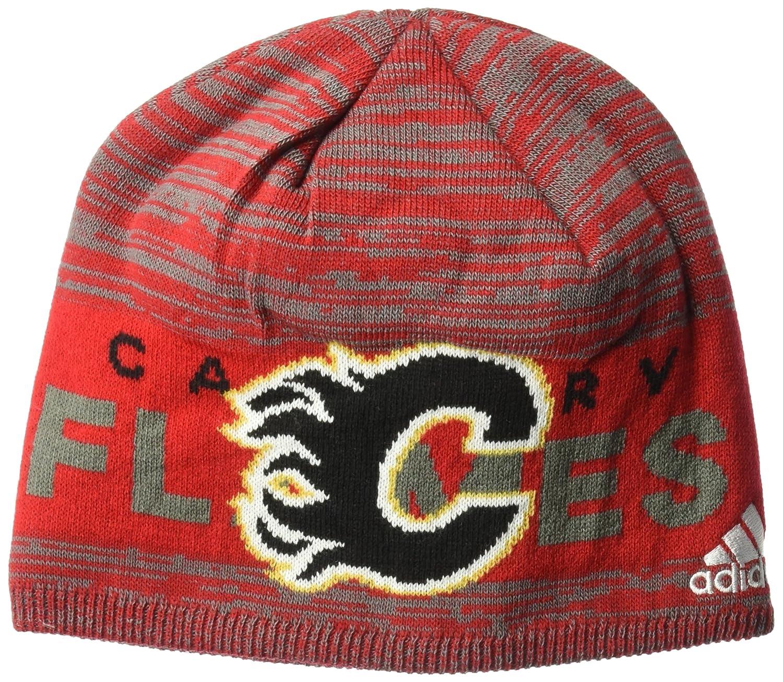 プロの認証カフ付きビーニークロームシールド付き B073ZML7WK One Size レッド Calgary Flames レッド One Size