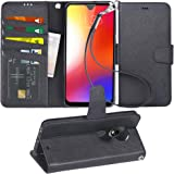 Arae Case for Moto G7 / G7 Plus PU Leather Wallet case [Stand Feature] with Wrist Strap and [4-Slots] ID&Credit Cards…