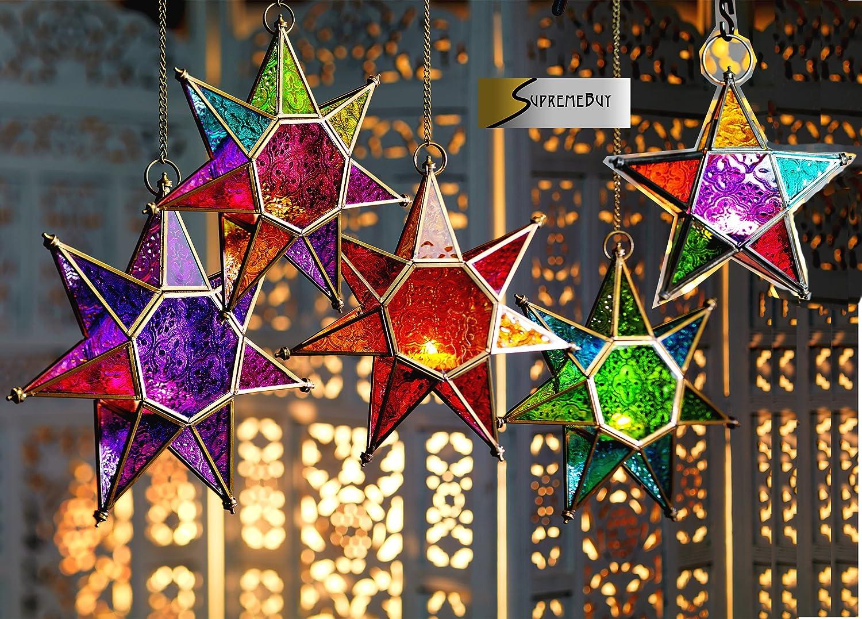 (Large Multi) - MOROCCAN STYLE STAR HANGING GLASS LANTERN (TEALIGHT HOLDER) - HOME & GARDEN (Large Multi) by SupremeBuy