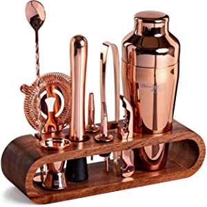 Mixology Bartender Kit: 10-Piece Copper Bar Set Cocktail Shaker Set with Stylish Mahogany Stand | Perfect Home Bartending Kit with Rose Gold Bar Tools and Martini Shaker for Foolproof Drink Mixing