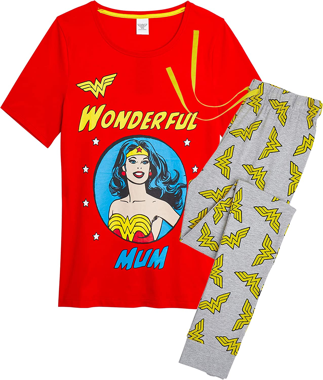 DC Comics Pijama Wonder Woman Mujer Diseño Superhéroe Wonder Woman, Conjunto 2 Piezas Camiseta de Manga Corta Pantalón Largo, Ropa de Dormir Algodón, Regalos para Madres Chicas