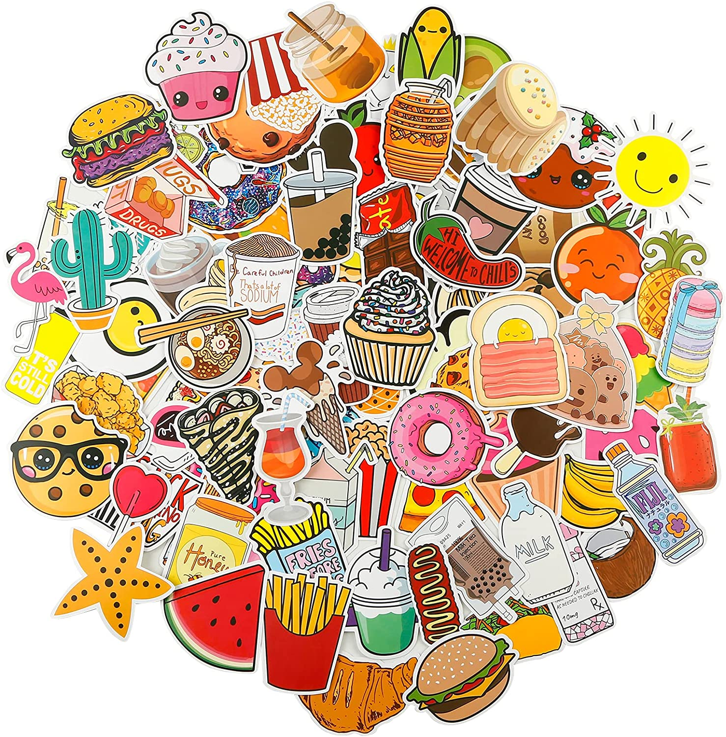100 PCS Stickers VSCO Cute Food Stickers Ice Cream for Water Bottles Cup Laptop Refrigerator Guitar PVC Mobile Phone Sets Kettle Refrigerator Scooter Stickers Motorcycle Bike Skateboard Vinyl Waterproof Graffiti