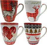 Set of 4 Fine China Christmas Mugs, Reindeer Design