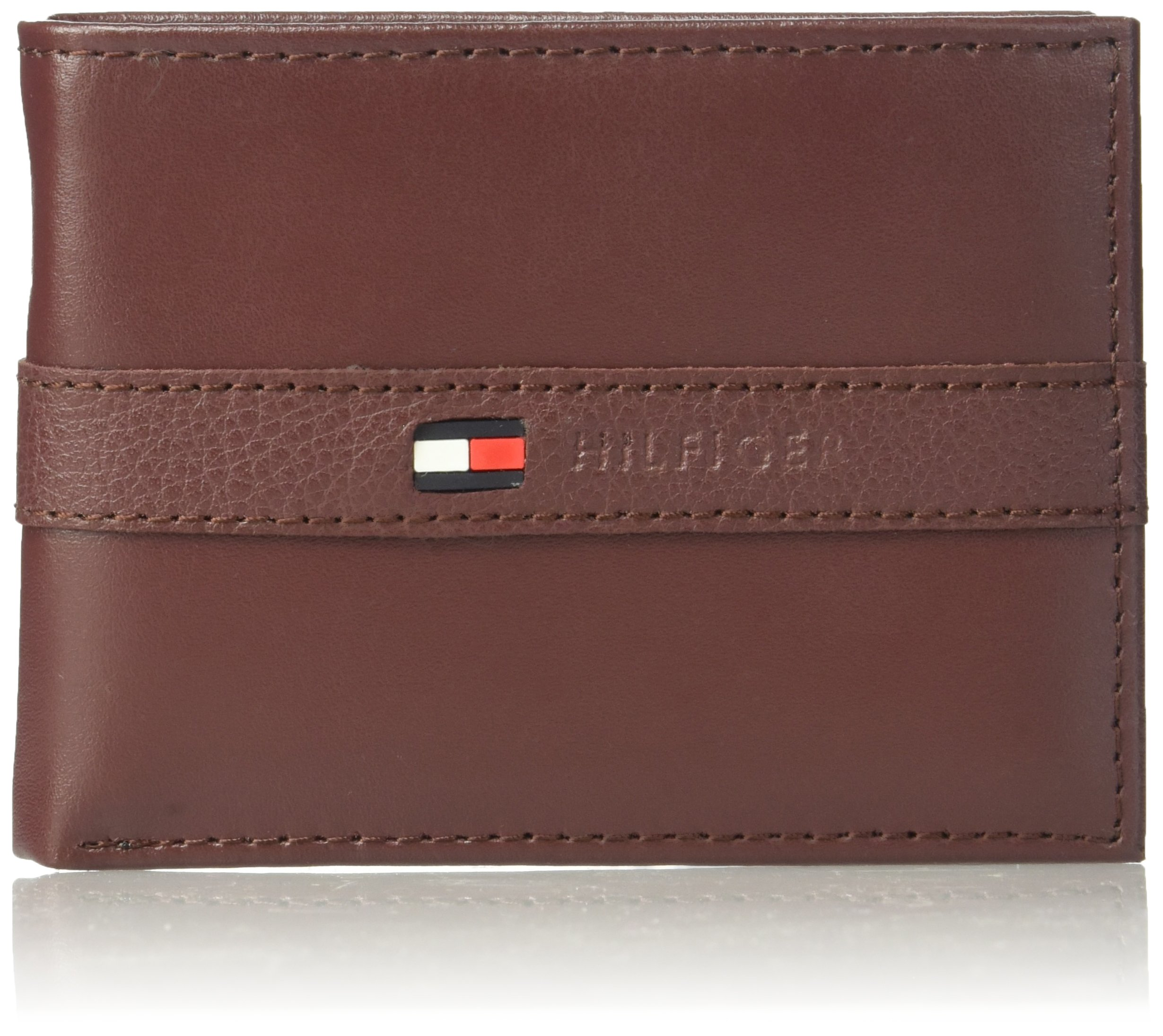 Tommy Hilfiger Men's Ranger Leather Passcase Wallet, Burgundy