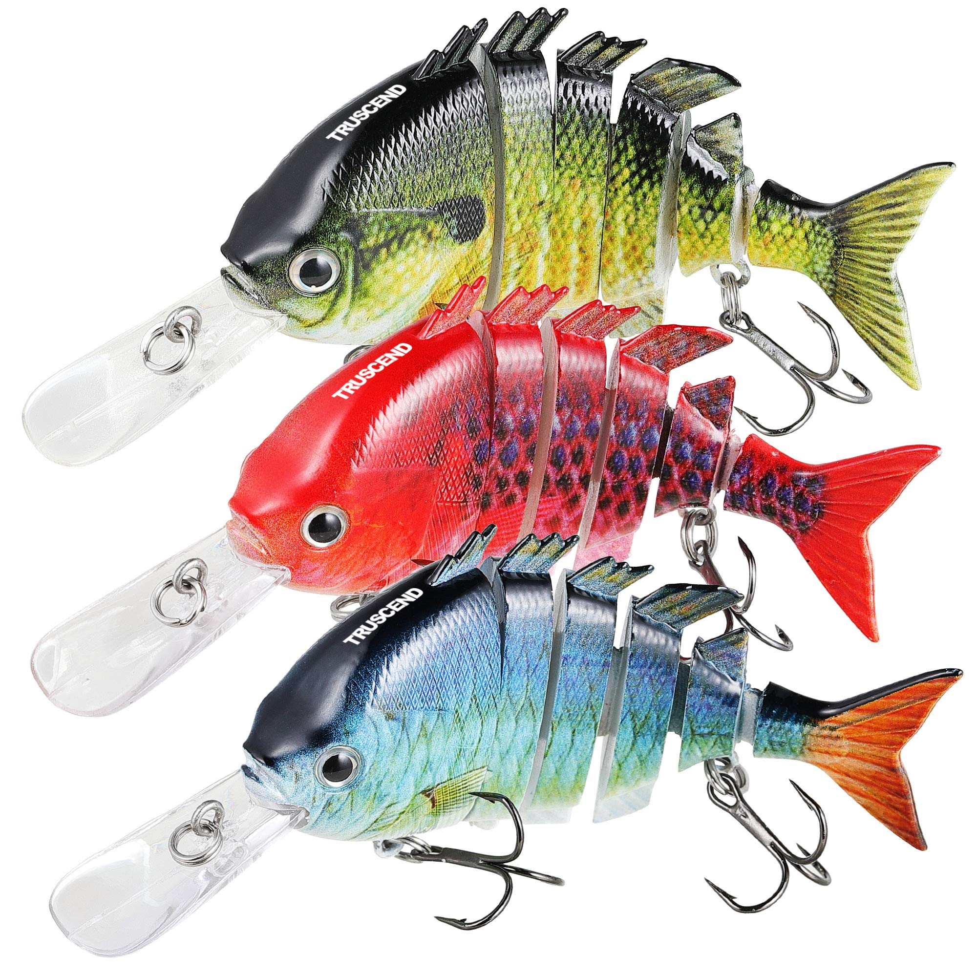 TRUSCEND Fishing Lures for Bass 3.9'' Multi Jointed Swimbaits Slow Sinking Hard Lure Fishing Tackle Kits Lifelike
