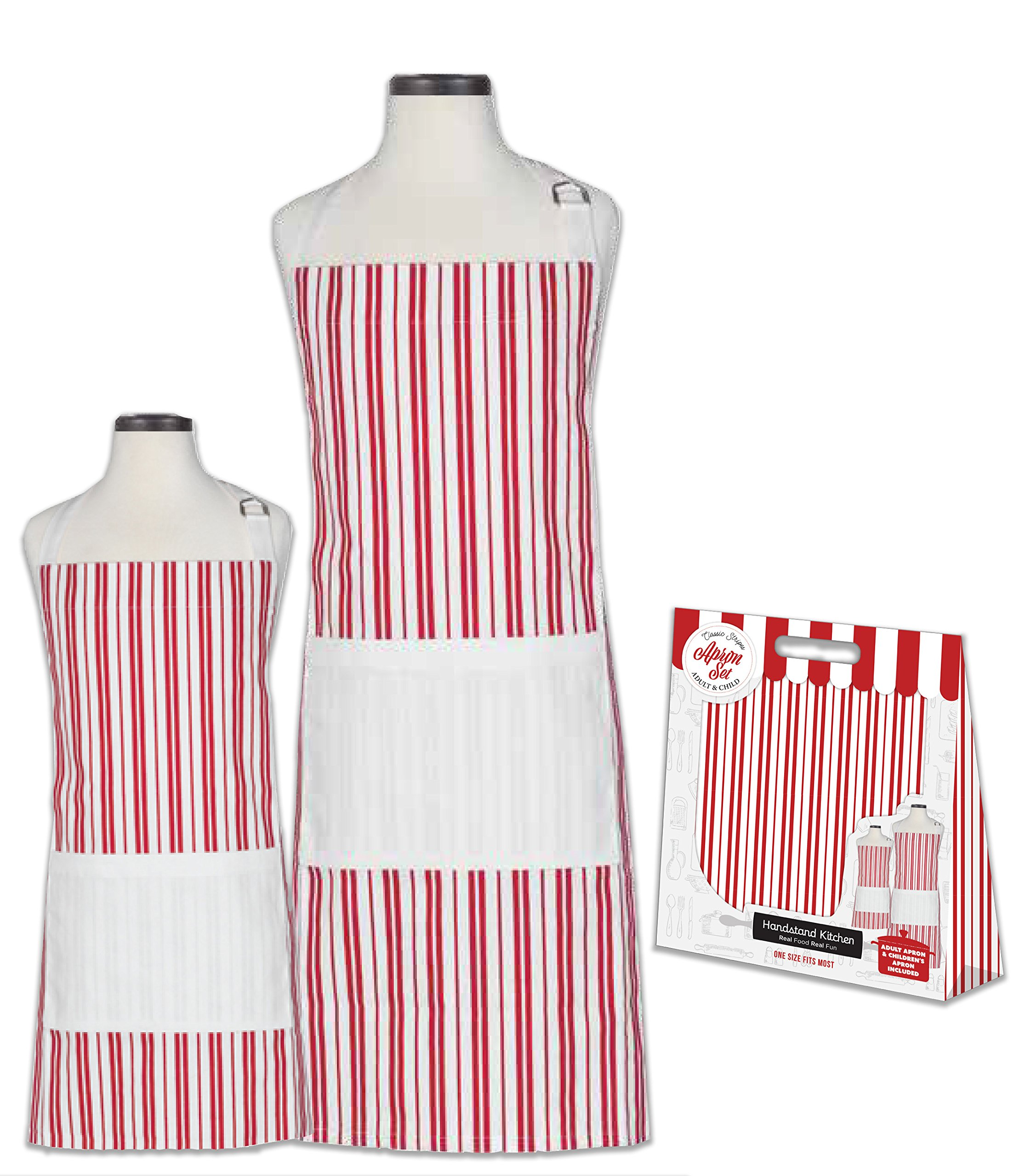 Handstand Kitchen Adult and Child Classic Red Stripe 100% Cotton Apron Gift Set