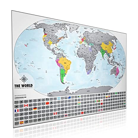 Amazon xl scratch off world map print 24x36 made in the usa xl scratch off world map print 24x36 made in the usa platinum travel gumiabroncs Gallery