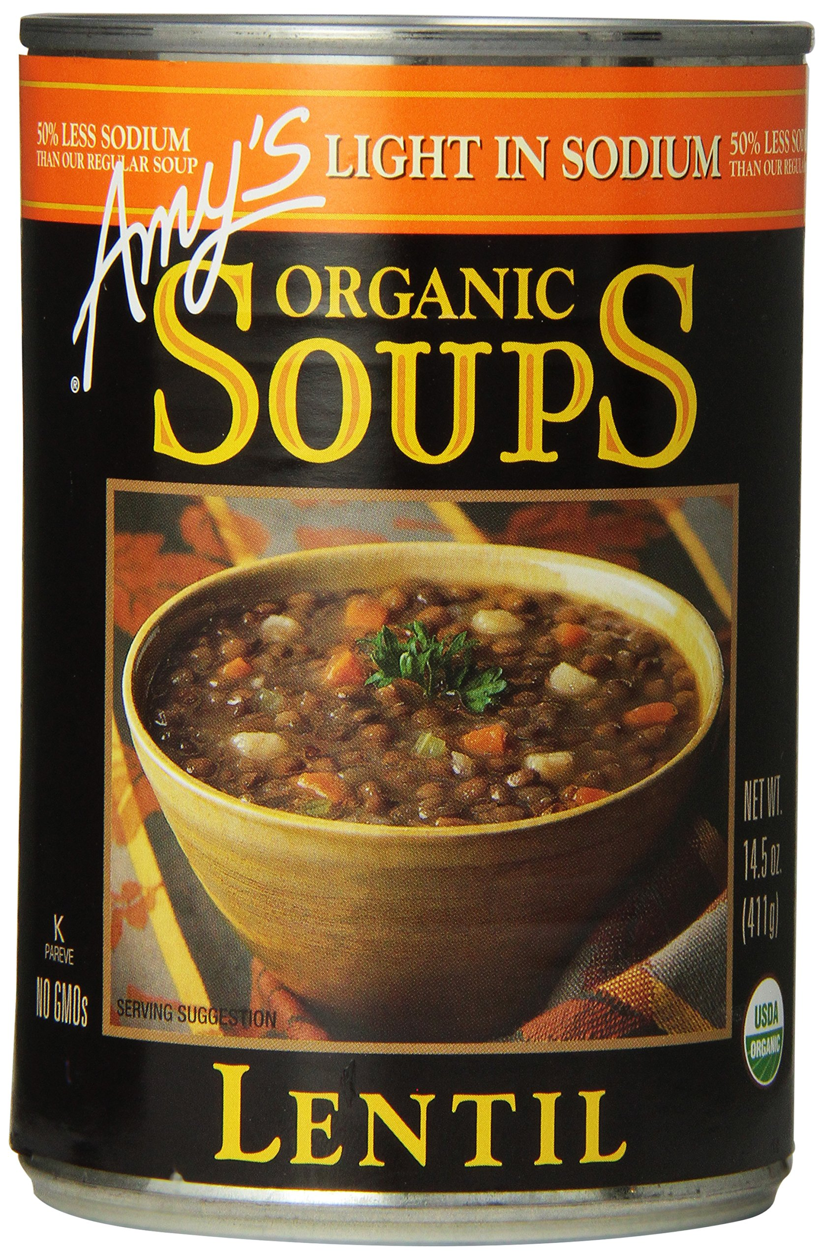 Amy's Organic Soups, Light in Sodium Lentil, 14.5 Ounce (Pack of 12) by Amy's