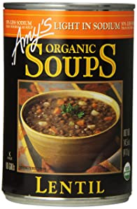 Amy's Organic Soups, Light in Sodium Lentil, 14.5 Ounce (Pack of 12)