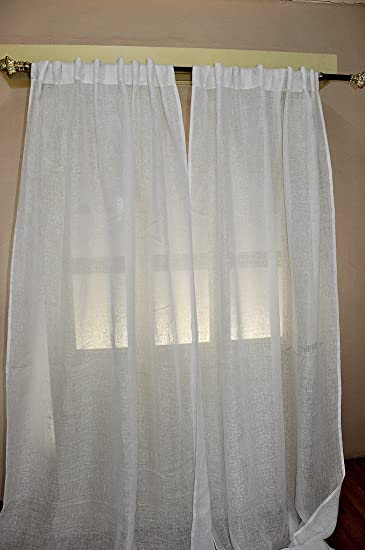 White Linen Sheer Curtain/panel (52u0026quot ...