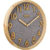 12 inches Silent Non-Ticking Quartz Wall Clock Kitchen Clock,3D Wood Numbers Display,Wood Frame and Linen Face Clock for Home